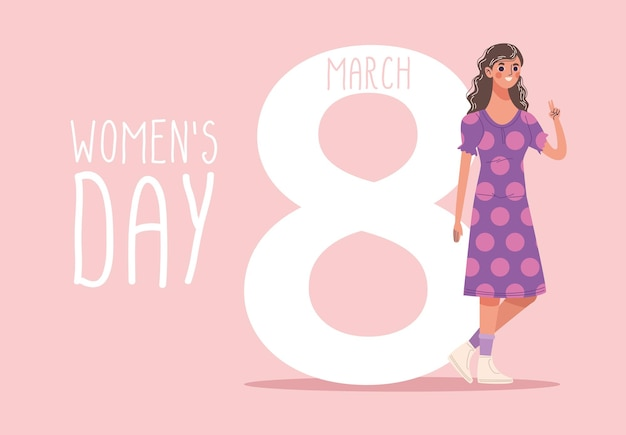 Letras de dia das mulheres com ilustração de mulher jovem e bonita feliz andando