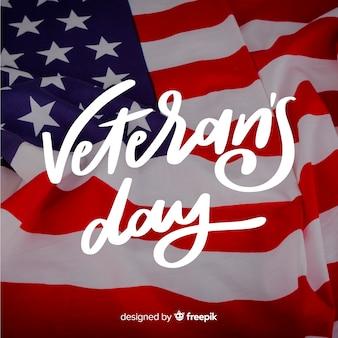 Letras de dia dos veteranos com bandeira