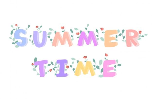 Letras de doodle de horário de verão, decoradas com flores. ilustração em branco.