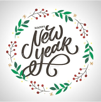 Letras de escova de feliz ano novo. elementos de design de mão desenhada.