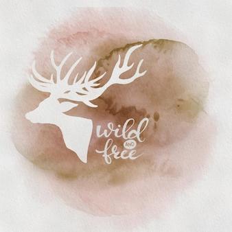 Letras de escova de mão livre e selvagem com uma rena, citação inspiradora sobre liberdade. desenhado à mão
