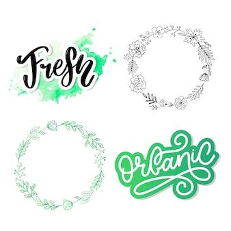 Letras de escova de slogan orgânico. mão desenhada palavra orgânica com folhas verdes
