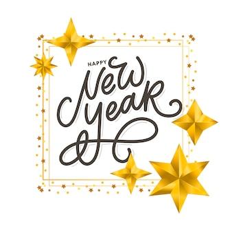 Letras de escova modernas manuscritas de feliz ano novo com moldura dourada e estrelas