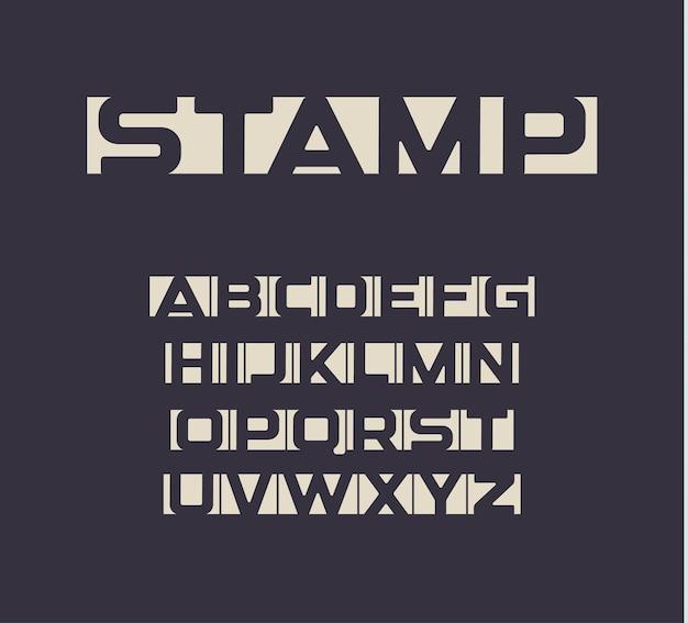 Letras de espaço negativo de fonte applique definidas alfabeto em negrito maiúsculo incomum para feed de notícias e jornais