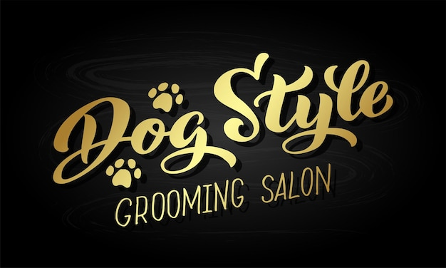 Letras de estilo cachorro para salão de beleza. logotipo dourado para salão de cabeleireiro para cachorro.
