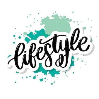 Letras de estilo de vida com fundo verde