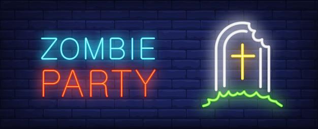 Letras de estilo neon de festa de zumbi. lápide com parede de bitebrick. festa a fantasia