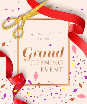 Letras de evento de inauguração com confete