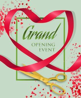 Letras de evento de inauguração com coração de fita