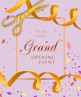 Letras de evento de inauguração com fitas amarelas