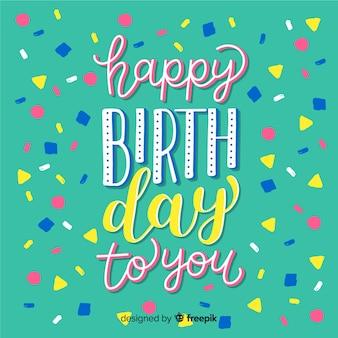 Letras de feliz aniversário com confete