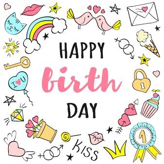 Letras de feliz aniversário com doodles femininos para cartão ou cartazes