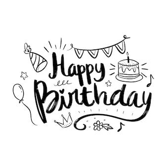 Letras de feliz aniversário com elementos de doodle