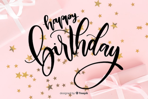 Letras de feliz aniversário com estrelas