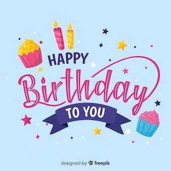 Letras de feliz aniversário com fundo azul