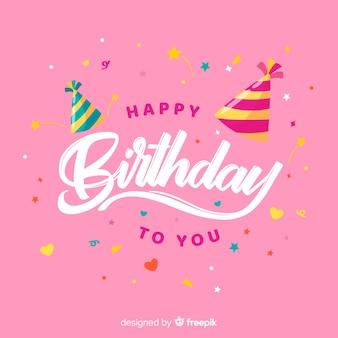 Letras de feliz aniversário com fundo rosa