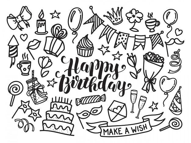 Letras de feliz aniversário e conjunto de doodle