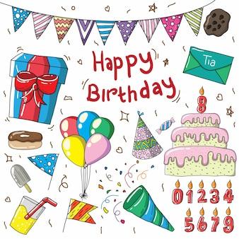 Letras de feliz aniversário e design de decoração de elementos