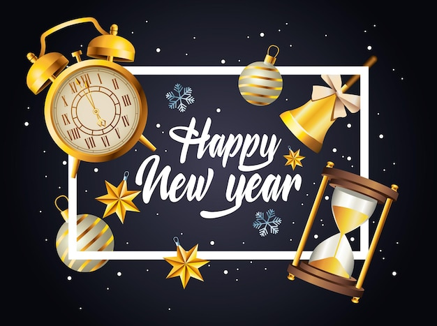 Letras de feliz ano novo com celebração conjunto de ícones na ilustração de moldura quadrada
