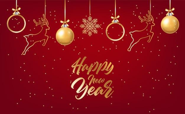 Letras de feliz ano novo com enfeites de natal