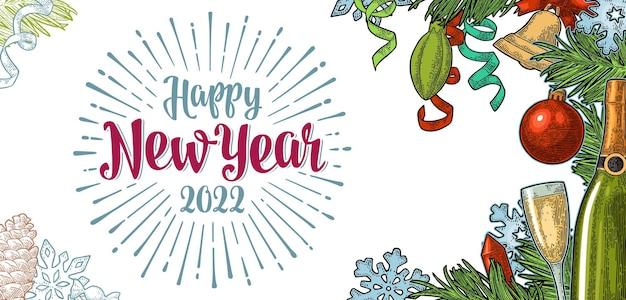 Letras de feliz ano novo de 2022 e gravura de floco de neve de foguete em serpentina com garrafa de vidro de champanhe