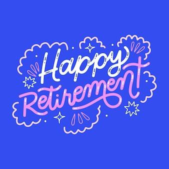 Letras de feliz aposentadoria desenhada à mão