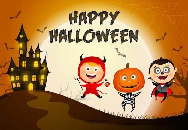 Letras de feliz dia das bruxas, castelo e crianças em fantasias de monstros