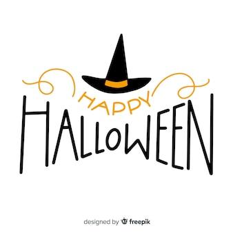 Letras de feliz dia das bruxas com chapéu de bruxa