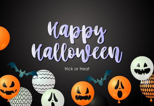 Letras de feliz dia das bruxas com morcegos e balões de máscara feia