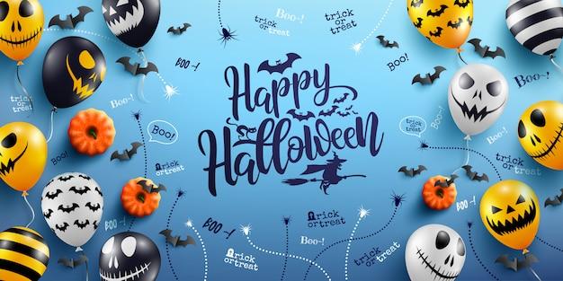 Letras de feliz dia das bruxas e fundo azul com balões de fantasma de halloween