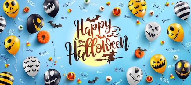 Letras de feliz dia das bruxas e fundo azul com balões fantasma de halloween