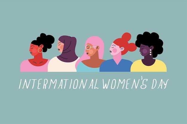 Letras de feliz dia das mulheres com ilustração de grupo de cinco personagens femininas