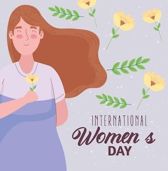 Letras de feliz dia das mulheres com ilustração de mulher levantando flores
