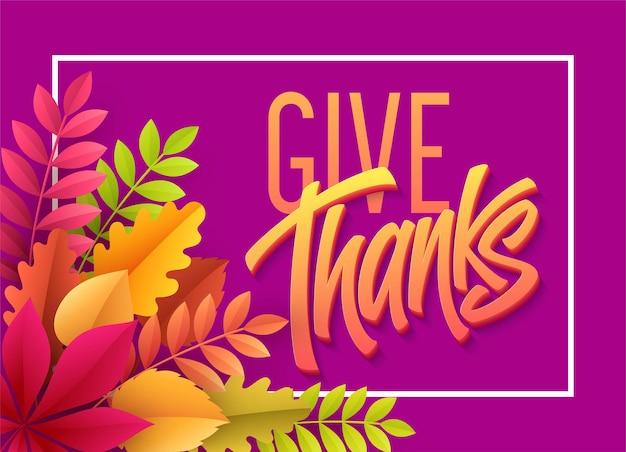Letras de feliz dia de ação de graças com folhas de outono de papel