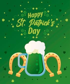 Letras de feliz dia de são patrício com cerveja verde e ilustração de ferraduras