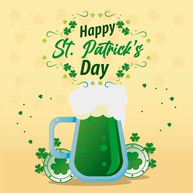 Letras de feliz dia de são patrício com cerveja verde e ilustração de trevos