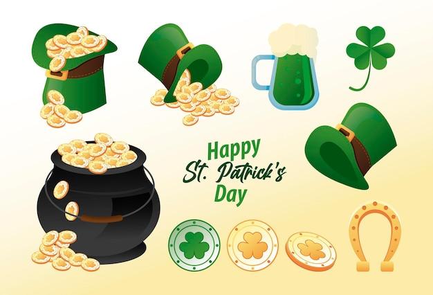 Letras de feliz dia de são patrício com ilustração de conjunto de ícones