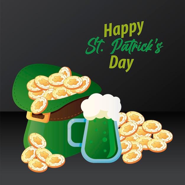 Letras de feliz dia de são patrício com moedas no chapéu de duende e ilustração de cerveja