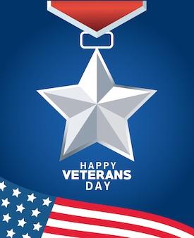 Letras de feliz dia dos veteranos com a bandeira dos eua e medalha em fundo azul