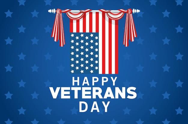 Letras de feliz dia dos veteranos com a bandeira dos eua pendurada