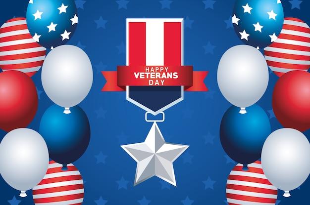 Letras de feliz dia dos veteranos com a medalha da bandeira dos eua e balões de hélio