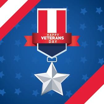 Letras de feliz dia dos veteranos com a medalha da bandeira dos eua