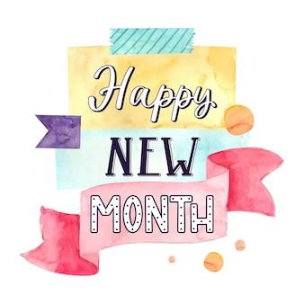 Letras de 'feliz mês novo' com elementos desenhados à mão