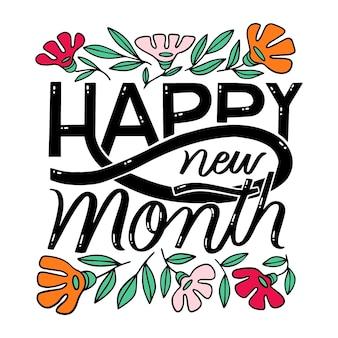 Letras de feliz mês novo com elementos desenhados à mão