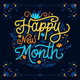 Letras de feliz mês novo com elementos desenhados