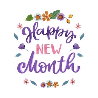 Letras de 'feliz mês novo' com elementos em aquarela