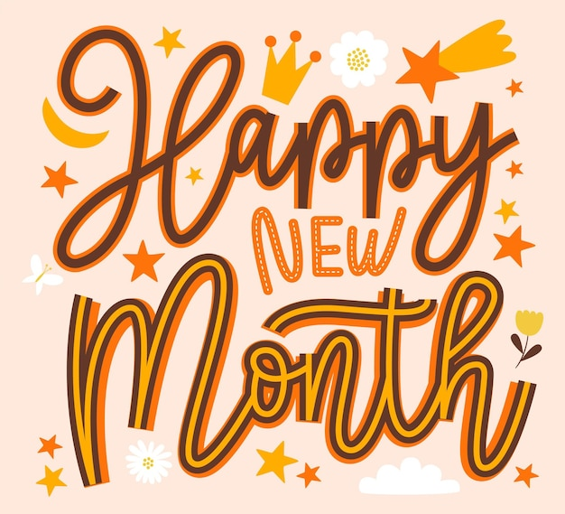 Letras de 'feliz mês novo' com elementos planos orgânicos