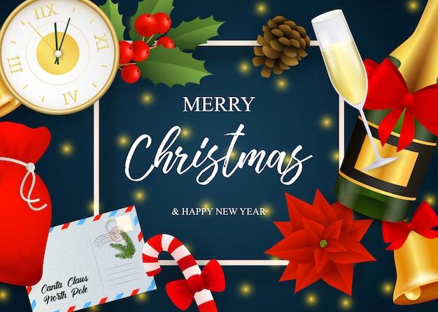 Letras de feliz natal, champanhe, relógio, poinsétia