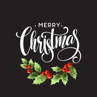 Letras de feliz natal com bagas de azevinho