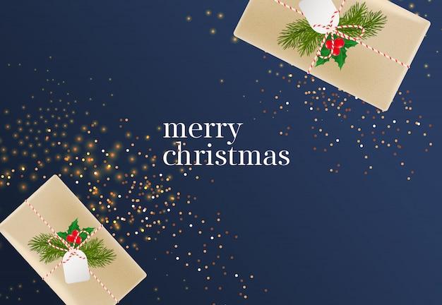 Letras de feliz natal com caixas de presente
